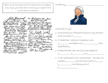 SC Interactive Notebook- Declaration of Independence