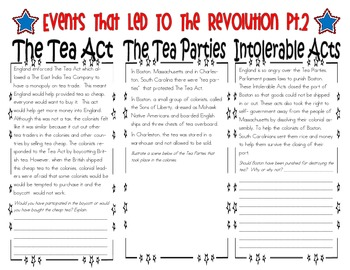SC Interactive Notebook- Events That Led to the Revolution