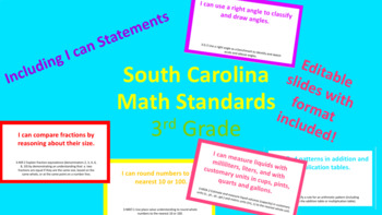 "SC Math Standards w/ ""I can"" Statements 3rd Grade"