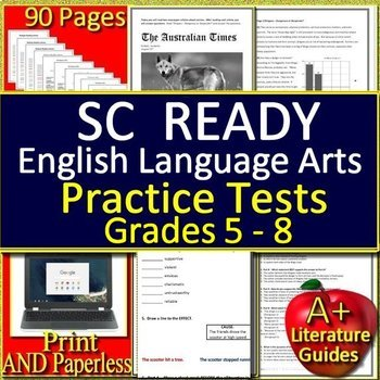 SC READY Test Prep Practice Tests Bundle for English Language Arts Grades 6 - 8