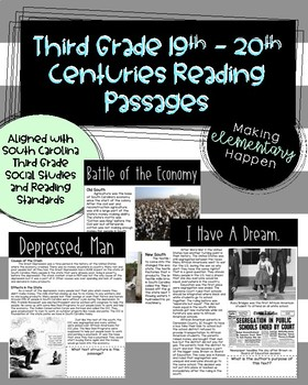 SC Ready Social Studies Reading Passages - 19th and 20th Century Unit