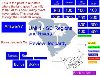 SC Regions and Rivers Review Jeopardy