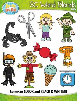 SC Word Blends Clipart Set — Includes 20 Graphics!
