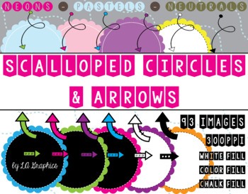 SCALLOPED CIRCLES AND ARROWS CLIPART - 300DPI HIGH QUALITY