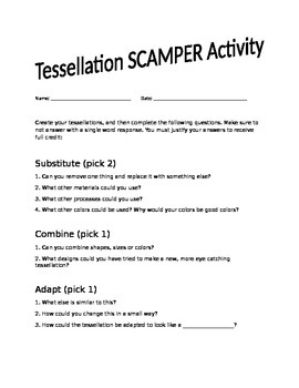 SCAMPER Tessellation Activity