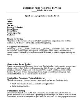 SCAN-3/Fisher Auditory Checklist Evaluation Report Template