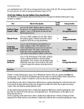 Speech Therapy-SCAN-3/Fisher Auditory Checklist Evaluation Report Template