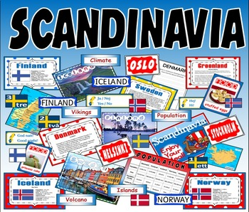 SCANDINAVIA - KS2-3 GEOGRAPHY MAP DENMARK ICELAND NORWAY FINLAND SWEDEN