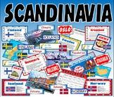 SCANDINAVIA - KS2-3 GEOGRAPHY MAP DENMARK ICELAND NORWAY FINLAND SWEDEN