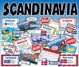 SCANDINAVIA - KS2-3 GEOGRAPHY MAP DENMARK ICELAND NORWAY F