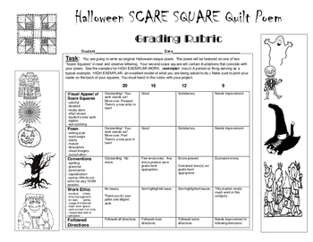 SCARE SQUARES:  Halloween-esque Poetry Assignment