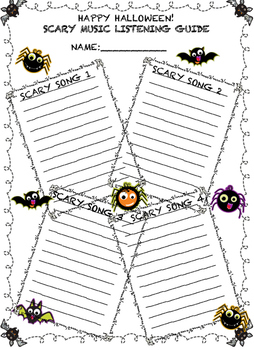 SCARY MUSIC LISTENING GUIDE!  A FUN MUSIC LISTENING ACTIVITY FOR HALLOWEEN!