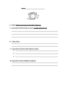 SCAT Novel Study - Graphic Organizer for Main Conflicts in SCAT