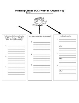 SCAT Novel Study - Predicting Conflict Graphic Organizer Chapters 1-5