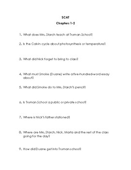 SCAT by Carl Hiaasen Quiz/Discussion Set