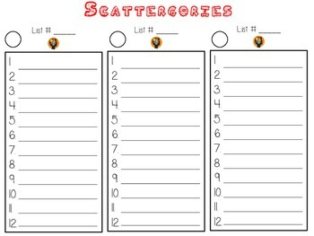 SCATTERGORIES - Fun Center Game - Word Work, Math, Science, Social Studies