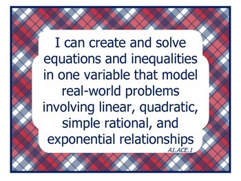 "SCCCR Algebra I ""I Can"" Posters"