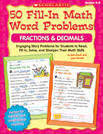 50 Fill-in Math Word Problems: Fractions and Decimals