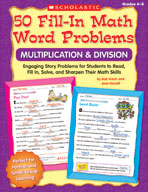 50 Fill-in Math Word Problems: Multiplication and Division
