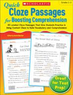 Quick Cloze Passages for Boosting Comprehension: Grades 2-3 (Enhanced eBook)