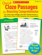 Quick Cloze Passages for Boosting Comprehension: Grades 4-6