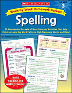 Week-by-Week Homework Packets: Spelling (Grade 3)