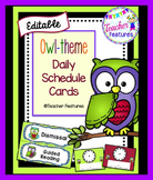 EDITABLE SCHEDULE CARDS- OWL THEME