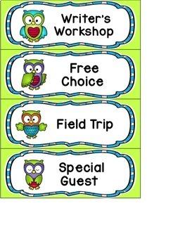 EDITABLE SCHEDULE CARDS- OWL THEME
