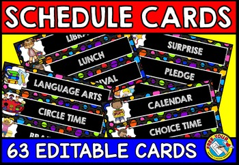 DAILY SCHEDULE CARDS EDITABLE WITH PICTURES (BACK TO SCHOOL ACTIVITY 2ND GRADE)