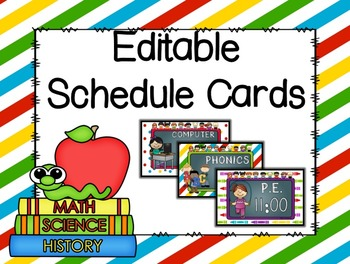 Kids Editable Schedule Cards