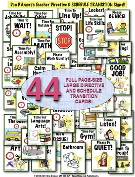 SCHEDULE TRANSITION & TEACHER DIRECTIVE SIGNS! 40 PAGE-SIZE & 40 SMALL SIGNS!
