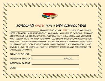 SCHOLAR'S OATH: CHARACTER EDUCATION OATH: GRADES 3-8