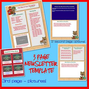 SCHOOL BEARS and BOOKS - Newsletter Template WORD