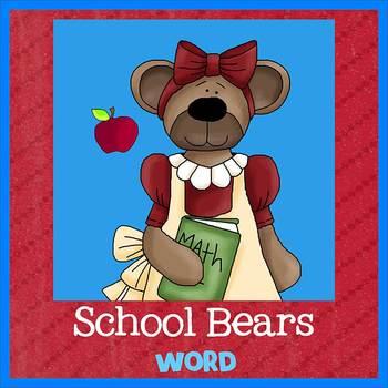 SCHOOL BEARS theme - Newsletter Template WORD