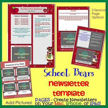 Pages - SCHOOL BEARS theme - Newsletter Template - For iPads, iPhones, & Macs
