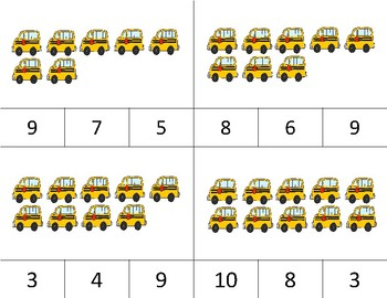 SCHOOL BUSES Counting to 10 Clip It {A Beginning Work Task)