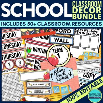 OLD SCHOOL Classroom Decor EDITABLE