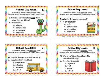 SCHOOL DAY JOKES • PARTS OF SPEECH REVIEW • GRADES 5–8