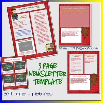 SCHOOL KIDS BOOKS BUS LEAVES and BEARS - Newsletter Template WORD