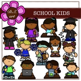 SCHOOL KIDS Digital Clipart (color and black&white)
