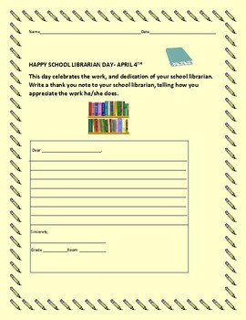 SCHOOL LIBRARIAN DAY ACTIVITY