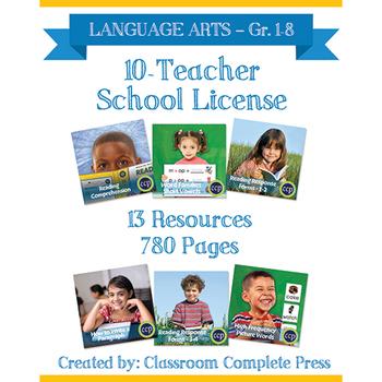 SCHOOL LICENSE – 10 TEACHERS – Year Long Program – LANGUAGE ARTS – Grades 1-8