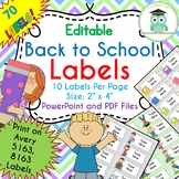 Back to School Labels Editable Classroom Notebook Folder Name Tags (Avery 5163)