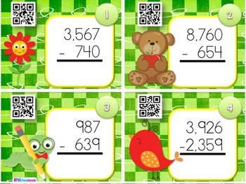 SCHOOL Multi-Digit SUBTRACTION QR Code Fun