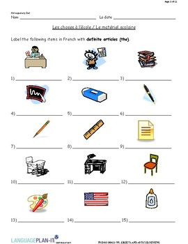 SCHOOL OBJECTS AND ARTICLES REVIEW (FRENCH)