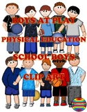 SCHOOL RECESS OR P.E  ~  ELEMENTARY BOYS AT PLAY  ~  CLIPART