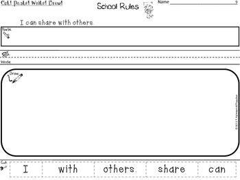 SCHOOL RULES ~ Cut, Paste, Write, Draw! Scrambled Sentences