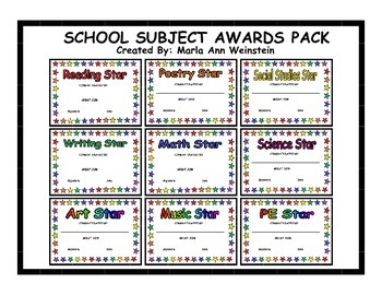 AWARDS PACK (SCHOOL SUBJECTS)