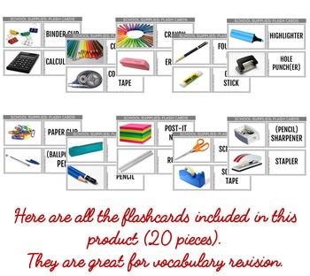 School Supplies Photo Flash Cards FREEBIE