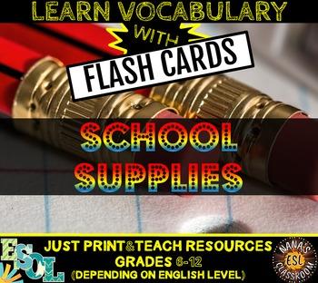 SCHOOL SUPPLIES: 20 FLASH CARDS